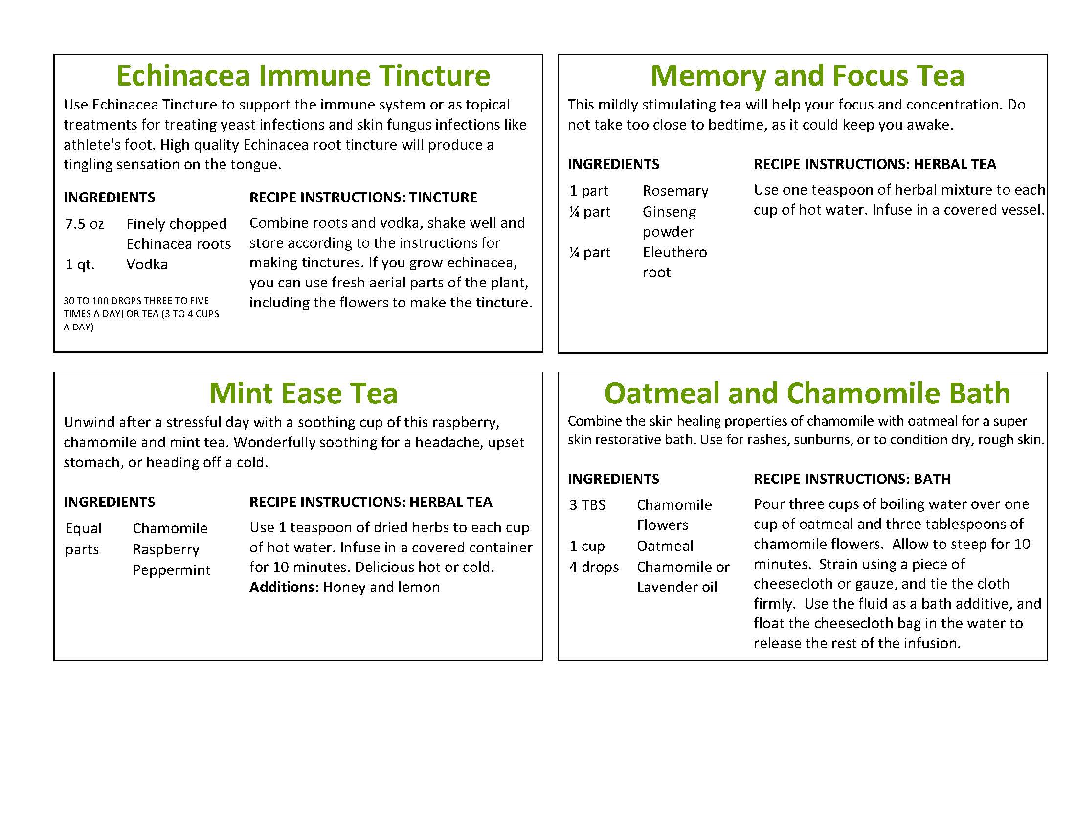Herbal Remedy Recipe Cards | Preppers101Blog